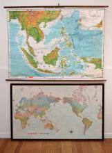 A VINTAGE MAP OF SOUTH EAST ASIA AND A FRAMED QUANTAS WORLD MAP