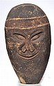 * MERVYN LOOMA (20TH CENTURY) Untitled (Head of Ancestral Figure)Carved Image of Two Goannas verso natural earth pigments on carved...