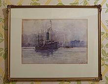 Charles Ephraim Smith Tindall (1863-1951),Shipping,SydneyHarbour 1897,watercolour on paper, signedanddatedlowerright
