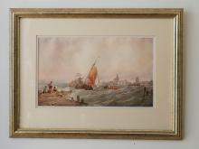 Unknown Artist, Untitled (Harbour Scene), watercolour on paper, 27 x 44cm, signed with initials lower left