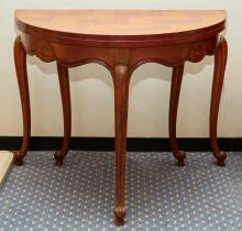 A CONTINENTAL PARQUETRY TOPPED FOLD OUT CONSOLE CENTRE TABLE