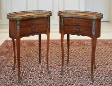 A PAIR OF LOUIS XV STYLE PARQUETRY BEDSIDE TABLES, 20TH CENTURY
