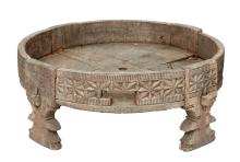 A NORTH AFRICAN CIRCULAR LOW TABLE, PROBABLY BERBER TRIBE OF MOROCCO, EARLY 20TH CENTURY