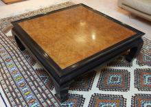 A LARGE BURL WOOD LOW COFFEE TABLE