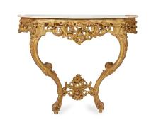 A LOUIS XV STYLE MARBLE TOPPED GILTWOOD CONSOLE TABLE
