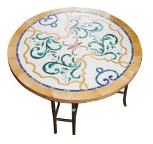 A PIETRA DURA MARBLE TABLE TOPPED COFFEE TABLE