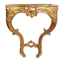 A FRENCH MID 19TH CENTURY LOUIS XV STYLE GILTWOOD SERPENTINE CONSOLE TABLE