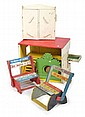 FIVE PIECES OF WOODEN CHILDRENS FURNITURE INCLUDING DOLLS HOUSE; TWO FOLDING CHAIRS; AND OTHERS, LARGEST 47CM HIGH X 56CM WIDE X 37C..