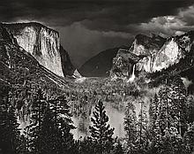 ANSEL ADAMS (AMERICAN, 1902-1984) i. Moonrise from Glacier Point, 1959ii. Thunderstorm, Yosemite Valley, 1945 two silver gelatin pri...
