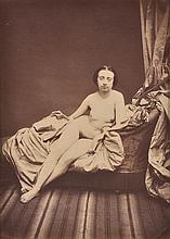 AUGUST BELLOC (FRENCH, 1800-1867) Untitled (Reclining nude) albumen print