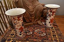 A PAIR OF IMARI VASES WITH FLARED MOUTH