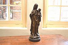 A BRONZE OF A VIRGIN MARY AND CHILD