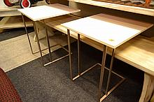 A PAIR OF MODERN CANTILEVERED SIDE TABLES