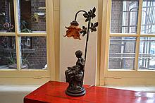 A BRONZE FIGURAL LAMP WITH GLASS AMBER SHADE