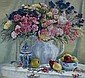 VAL MULCAHY 'CARNATIONS AND APPLES' OIL ON BOARD.