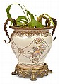 EUROPEAN AND ORMOLU MOUNTED FLORAL DECORATED JARDINIER