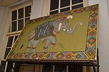 AN INDIAN ELEPHANT PAINTING ON LINEN (REPAIRED)