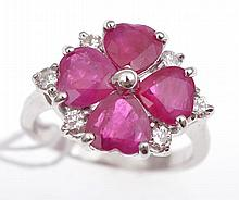 A BURMESE RUBY RING, IN 18CT WHITE GOLD