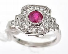 AN ART DECO STYLE TREATED RUBY AND DIAMOND PLAQUE STYLE RING, IN 18CT WHITE GOLD