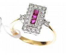 A CALIBRE CUT TREATED RUBY AND DIAMOND CLUSTER RING, IN 18CT TWO-TONE GOLD