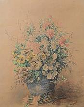 EUGENIE MARGUERIT CALMANT, STILL LIFE WITH FLOWERS, WATERCOLOUR, 61 X 45.5C