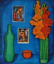 GEOFFREY JONES, STILL LIFE WITH ROUAULT POSTCARD, OIL ON PERSPEX, 60 X 50CM