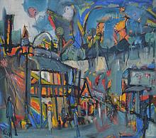 S. PHILLIPS, ABSTRACT STREET SCENE, OIL ON CANVAS, 80 X 90CM
