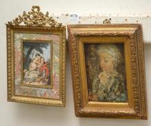 TWO 19TH CENTURY ART WORKS IN GILT FRAMES, INCL. A MINIATURE ON IVORY AND OIL