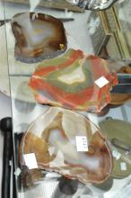 THREE PIECES OF SLICED AGATE