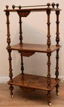 A FINE VICTORIAN BURR WALNUT MARQUETRY INLAID WHATNOT