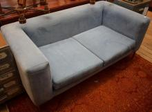 A CONTEMPORARY TWO SEAT LOUNGE IN BLUE MICRO SUEDE