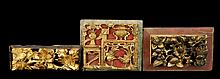 3 Pcs. Asian Carved Wood Temple Fragment Lot #1