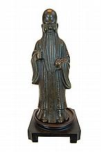 Chinese Shou Lao Bronze Sage Sculpture