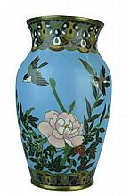 Vintage Asian Cloisonne & Brass Turquoise Vase