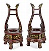 PAIR Asian Carved Gold Gilt Wood Stand