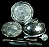Silver Plate Trays, Ladle, Carving Set w/ Sterling