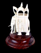 1951 Rajnder Carved Ivory Elephant Figurine