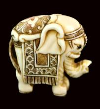 Signed Scrimshawed & Carved Ivory Elephant Figure