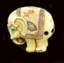 Signed Carved Ivory Elephant Netsuke
