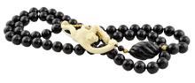 Onyx, Ivory & Gold Bead Climbing Monkey Necklace