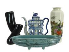 4 Pc. Asian Vase & Tea Pot Lot