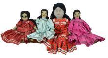 4 Pc Native American Textile Doll Lot