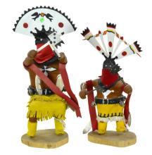 2 Pc A. Thompson Native American Kachina Doll Lot