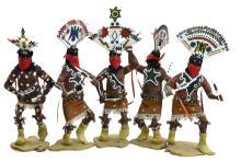 5 Pc Hanson Kinney Apache Kachina Doll Set