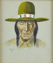 Paul Sollosy (1911-2012) Native American Man