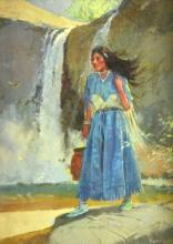 Sheryl Bodily (1936-) Native American Woman Oil