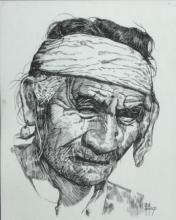Popet Signed Native American Portrait Lithograph