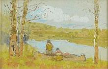 Edwin Deming (1860-1942) Watercolor, Boat, Stream