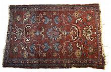 Maroon and Blue Oriental Rug