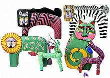 6 Pcs. Painted Wooden Oaxaca and Bali Animals